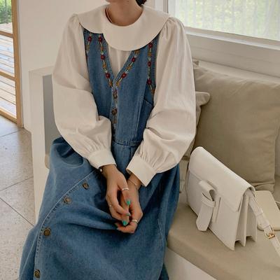 大码女装2021春韩版百搭纯色连衣裙+重工牛仔绣花背心裙时尚套装