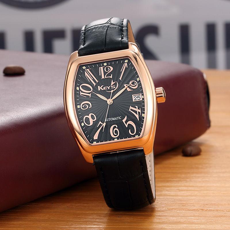 Bucket watch mens quartz watch waterproof brand business fashion watch belt rectangular watch mens trend