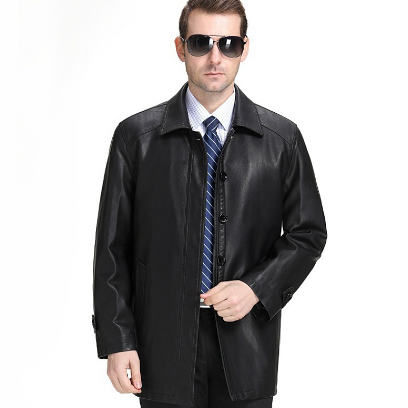 Haining Leather Mens 2020 spring and autumn coat sheep skin business leisure real leather jacket Dad