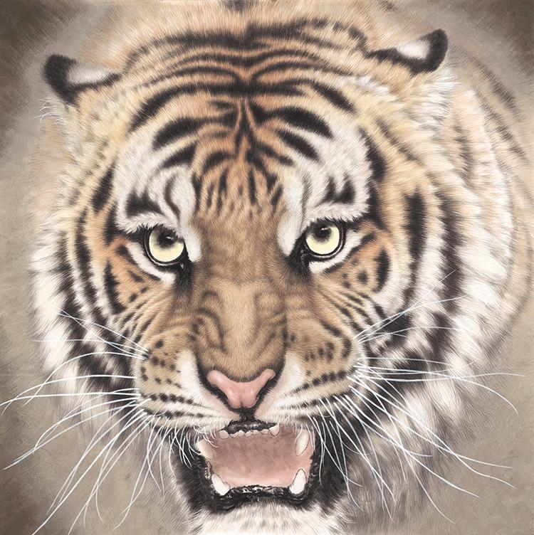 稿藝術微噴宣紙復制畫四尺斗方豎幅裝飾畫孟祥順工筆畫老虎臨摹畫
