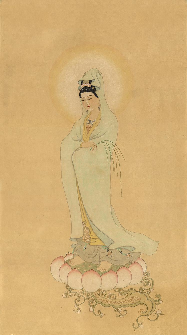 像藝術微噴復制畫裝飾畫明代無款觀音像國畫人物佛教畫
