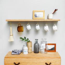 一字实木隔板 橡木整板带挂钩 墙上置物架厨房可挂杯子 日式北欧
