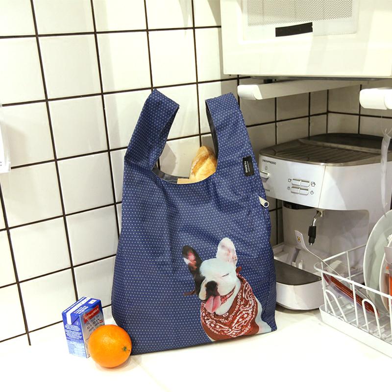 Desoife法国斗牛犬 中号环保超市购物袋 双层便携折叠原创手提包