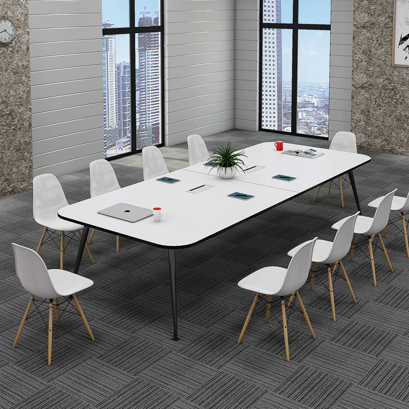 New office furniture small steel wooden meeting table simple negotiation table reception rectangular desk