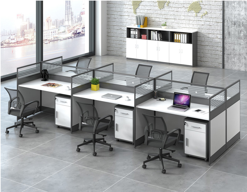 Shanghai new office furniture simple staff desk combination computer desk four screen station card factory direct sales