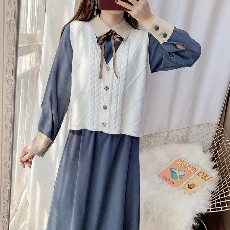 甜美文艺娃娃领连衣裙女秋装时尚套装裙子两件套韩版学生气质长裙
