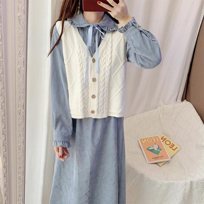 时尚套装裙子两件套韩版马甲裙灯芯绒连衣裙女秋冬学生内搭打底裙