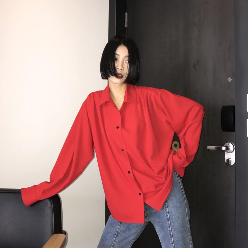 八月定制 衬衫女韩版港味复古宽松chic早秋红色原宿港风长袖衬衣