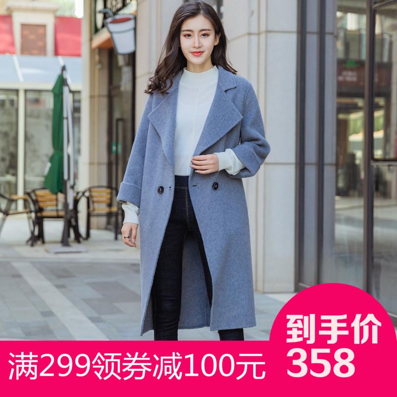 双面绒大衣呢子外套女宽松九分袖女装韩版2018新款长款高档手工