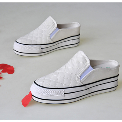 Fashionable and classic canvas half support. Slippers muffin thick sole with white black womens one legged canvas shoes