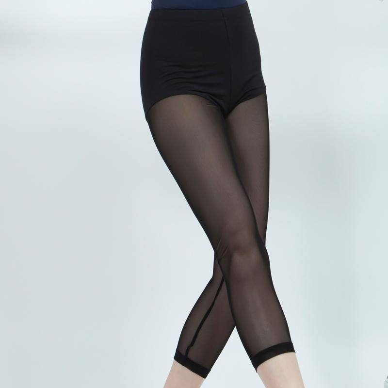 包邮芭蕾舞裤练功裤黑色网纱七分打底裤女紧身形体裤夏季舞蹈裤