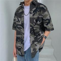 夏装复古迷彩短袖衬衫男韩版宽松迷彩衬衣青年大码衬衫 CS09P55