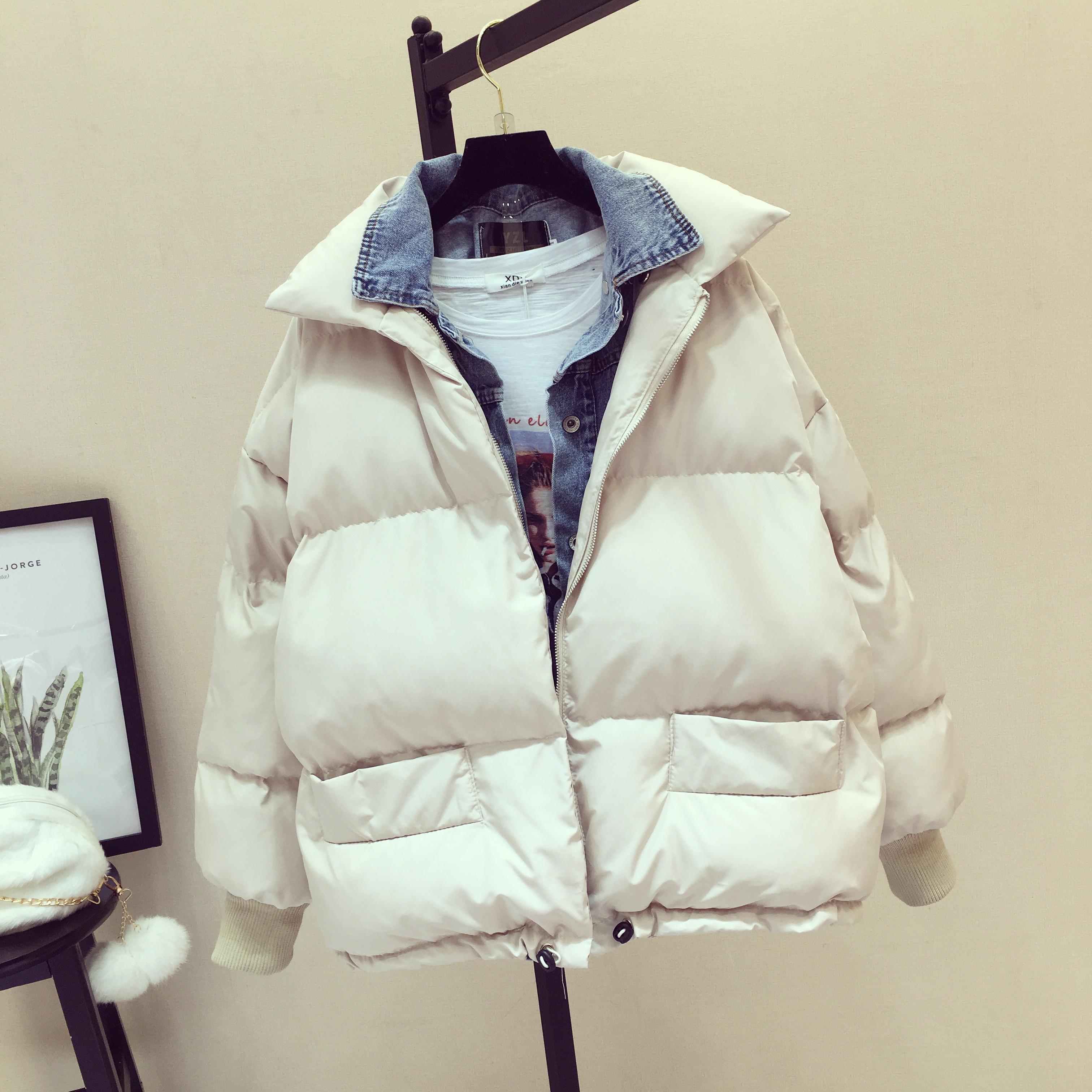 2018冬季新款韩版羽绒棉假两件ins短款外套女装宽松面包服棉衣潮