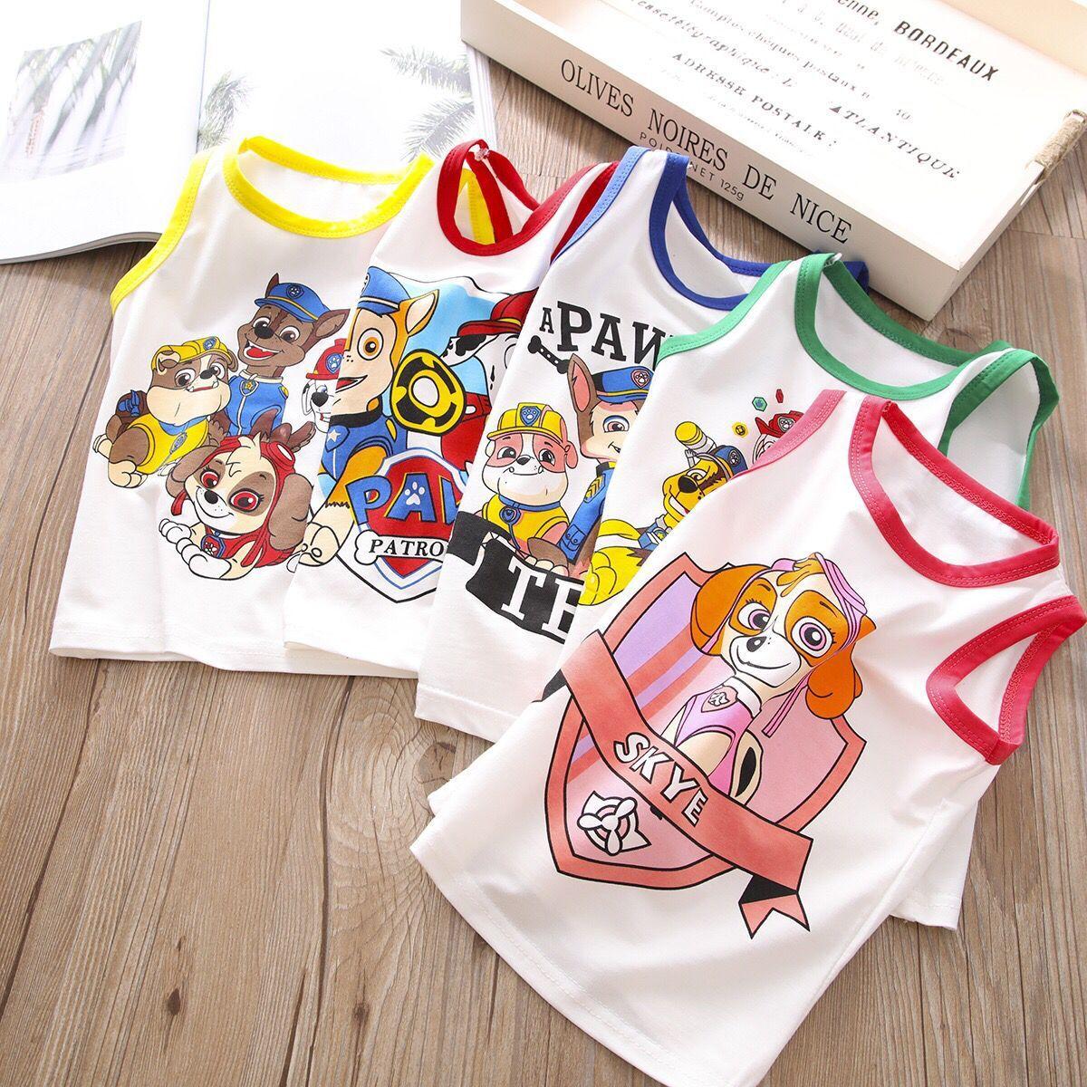 Childrens Vest Wangwang team mail 2020 Summer Boys and girls cartoon vest sleeveless top 1-2-3-4-