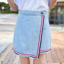 一片式半身裙 高腰牛仔 不对称短裙条纹裙织带裙女生款式牛仔裙