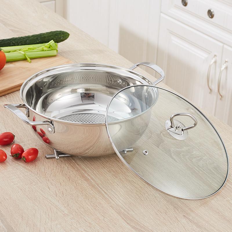 加厚火鍋鍋 不鏽鋼湯鍋燃氣電磁爐 鍋具 家用不粘清湯鍋火鍋盆
