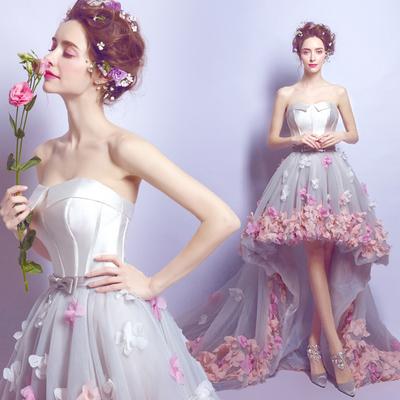 天使嫁衣 浪漫花瓣 前短后长旅拍海景外景拖尾新娘轻婚纱礼服批发