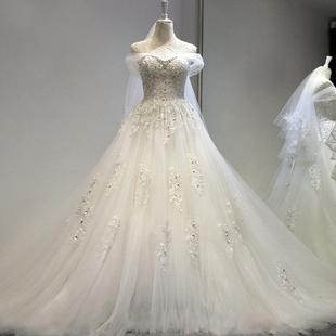 天使嫁衣 璀璨鑽石 夢幻超仙森系法式新娘拖尾輕婚紗禮服 591