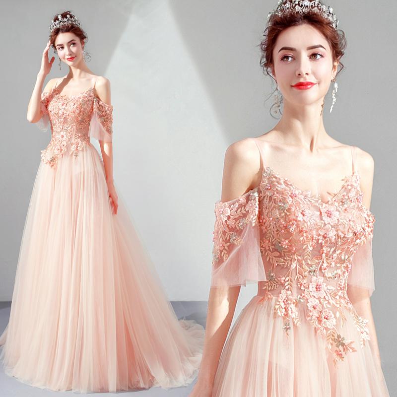 天使嫁衣 仙气粉色新娘结婚敬酒服宴会年会订婚婚纱晚礼服裙5960