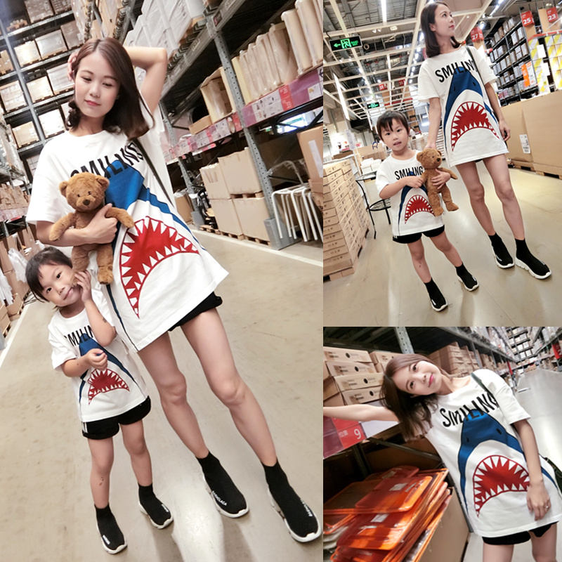 NJ 亲子装夏装2020新款鲨鱼印花一家三口全棉长款T恤母女装母子装