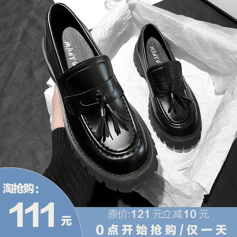 一脚蹬学生黑色松糕厚鞋底乐福鞋 充满线条感又不失风采