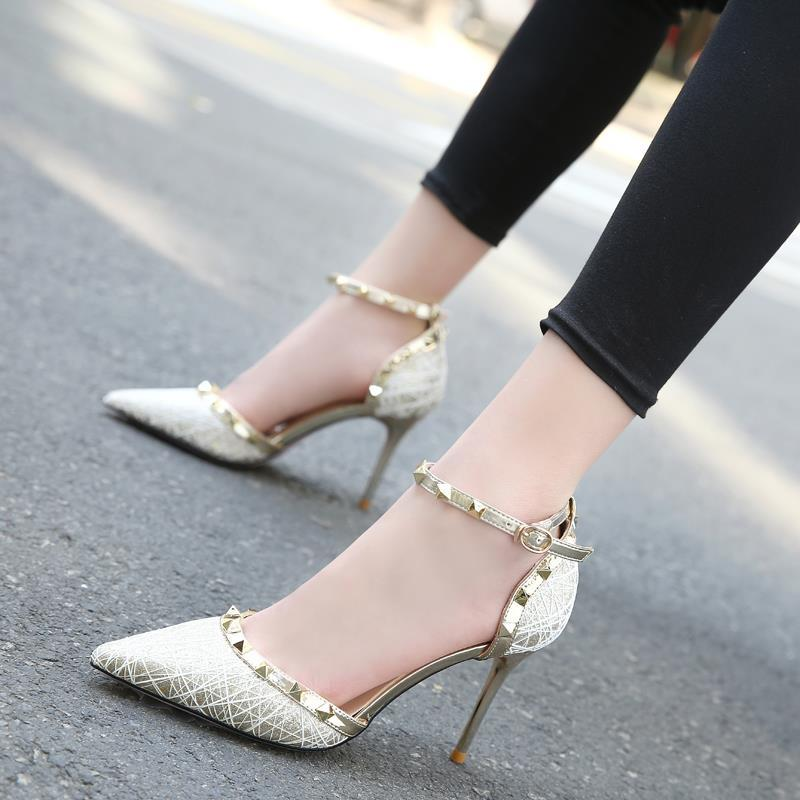 Sequin student little fresh womens high heeled shoes girls annual meeting fine heeled adult ceremony creative shiny dance shoes