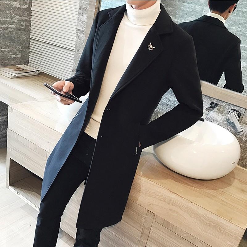 男士风衣中长款秋冬季韩版痞帅潮流修身妮子大衣2021新款毛呢外套
