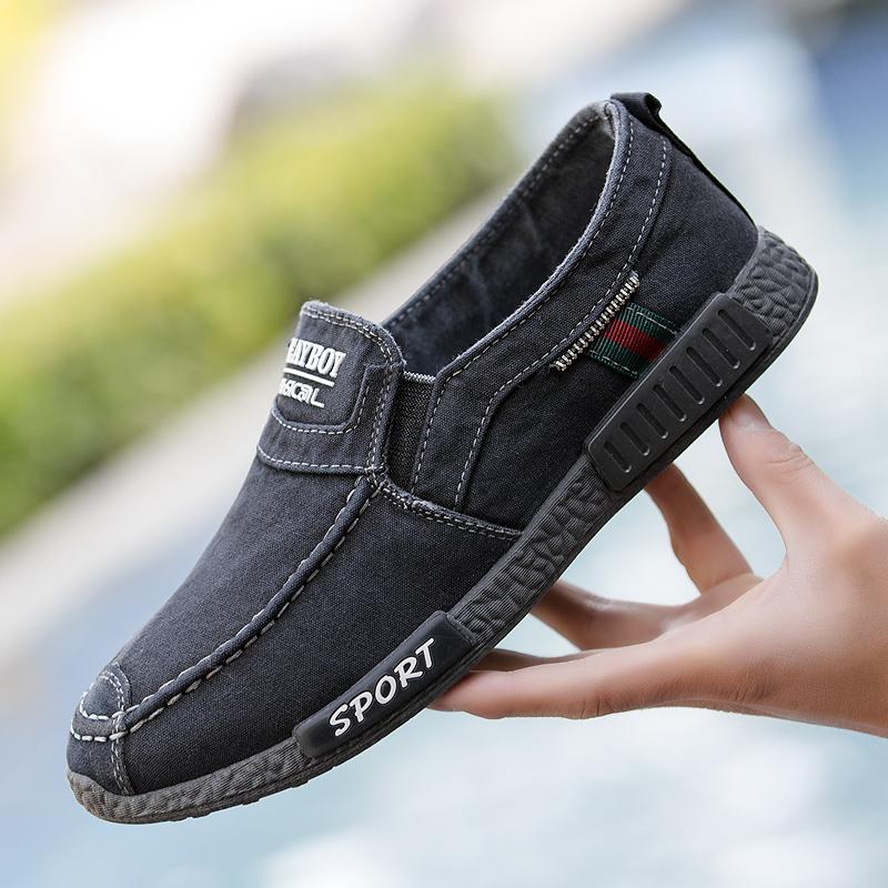男士帆布鞋春季布鞋老北京日常休闲鞋懒人鞋一脚蹬低帮软底开车鞋
