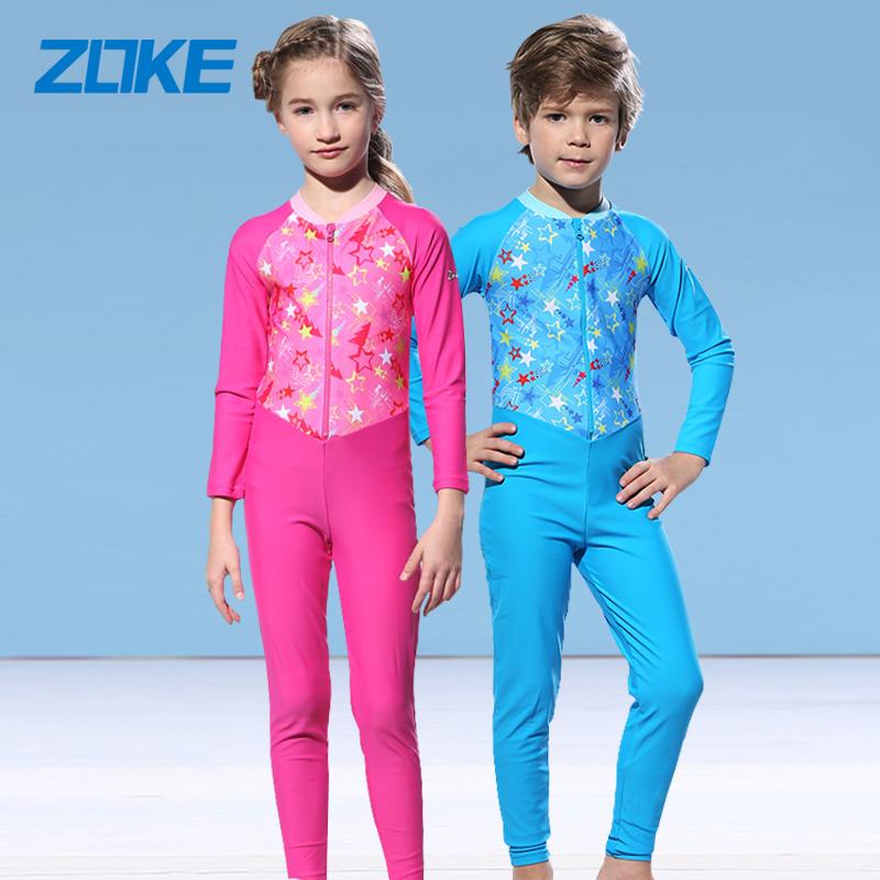 洲克儿童泳衣 女童粉色长袖长裤防晒保暖连体泳装 男童速干潜水服