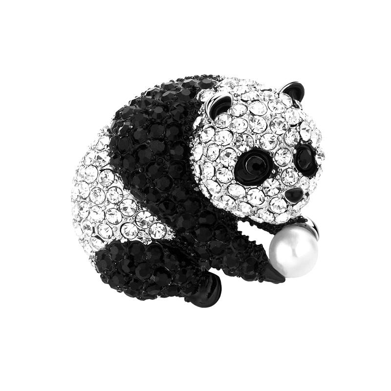 Panda Brooch female fashion Rhinestone couple Brooch luxury Brooch shiny mens anti light Animal Brooch