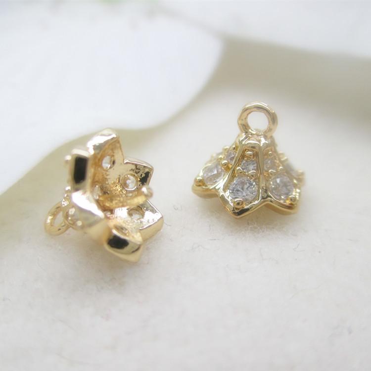 原创饰品配件材料 钻石喇叭花托花帽 手链项链耳环珍珠托