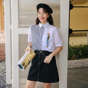 2019夏季新款学院风卡通女孩刺绣拼接撞色竖条纹清新文艺 衬衫