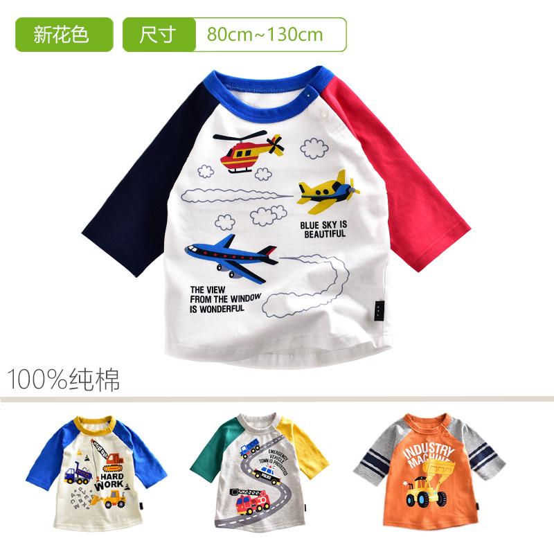 限时抢购千趣家男童秋装长袖t男女宝宝7分袖短袖纯棉T恤1-6岁小童卡通上衣