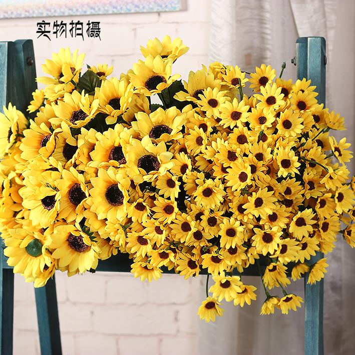 把束向日葵仿真花束假花��b�花塑料花舞蹈道具客�d��_家居�[件