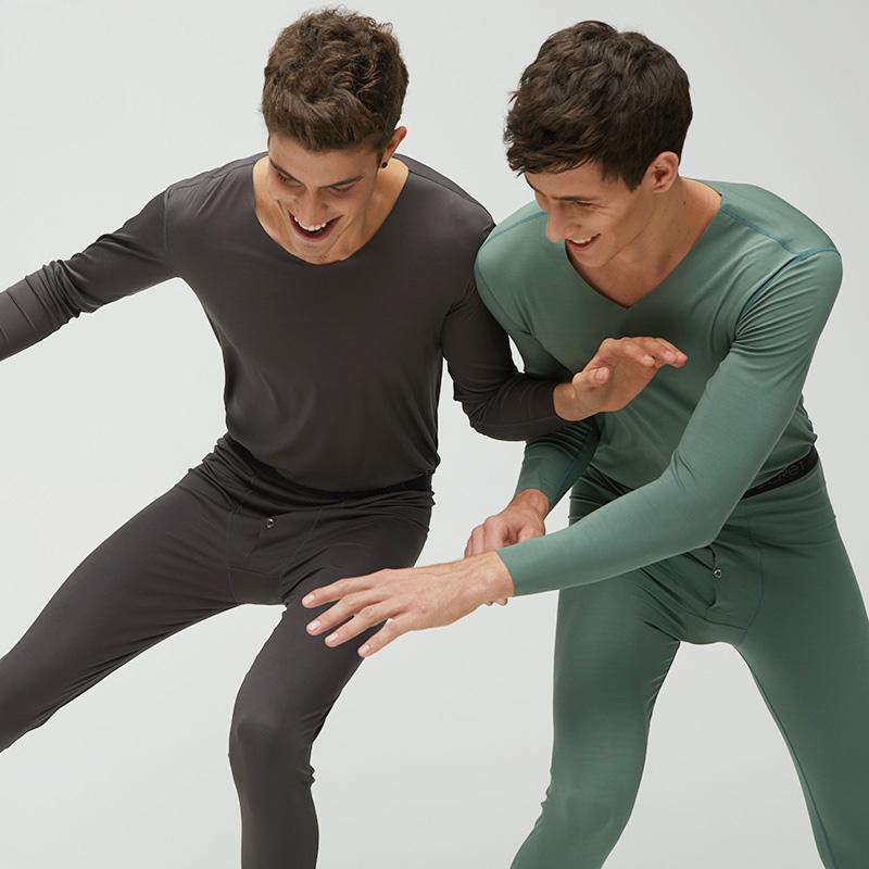 螃蟹秘密男士保暖内衣 120支细腻莫代尔薄款V领秋衣秋裤打底套装