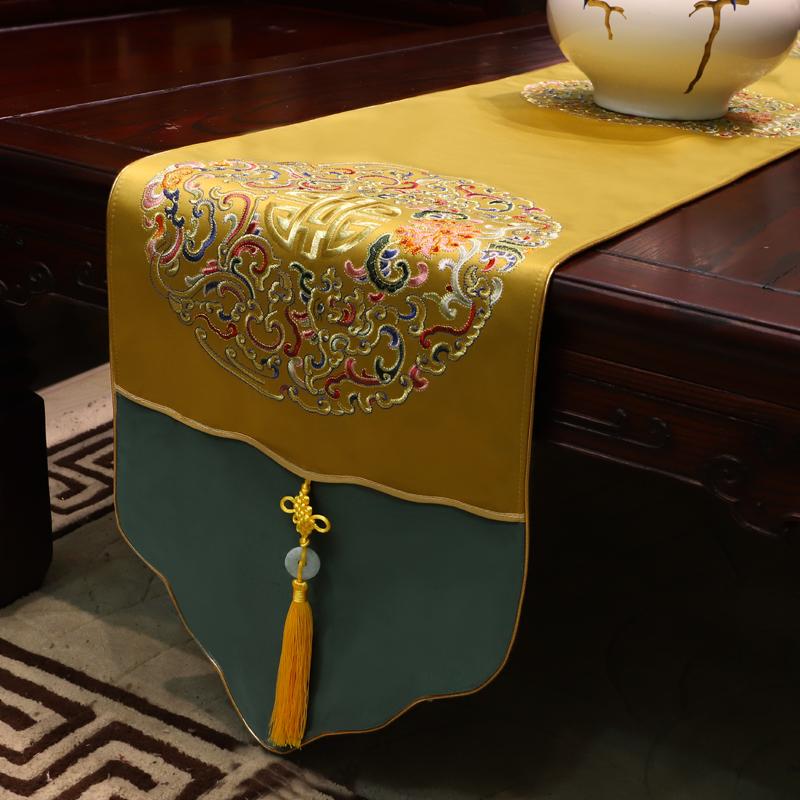 新中式刺绣桌旗中国风古典桌布客厅餐桌电视柜茶几禅意布艺床旗