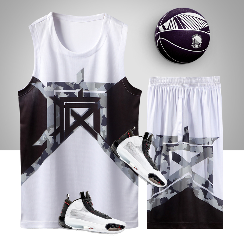 2020 new mens training competition basketball suit students custom printed crazy Jersey camouflage basketball Vest Set