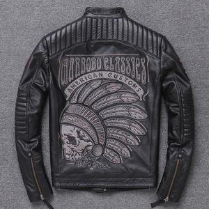 哈雷男装个性印第安人刺绣帅气机车皮夹克男式潮酷纯牛皮真皮皮衣