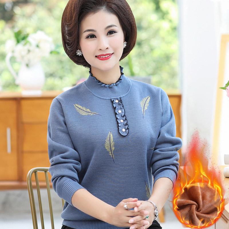 中老年女装秋冬加绒加厚针织衫打底衫中年妈妈装羊毛套头上衣毛衣