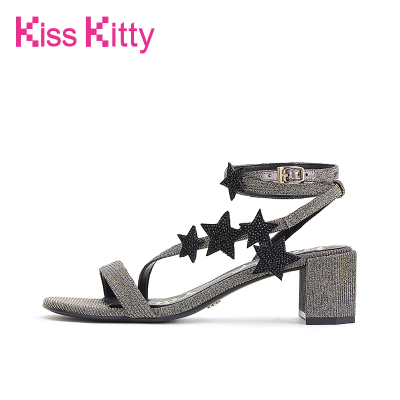 Explosive Star Kiss Kitty 2009 Summer New Star Mercury Diamond Ribbon with Coarse-heeled Sandals