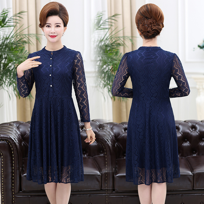 Early autumn new middle-aged moms long sleeve lace dress for women aged 50-55 to 60.