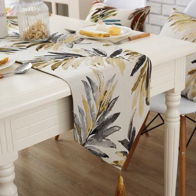 美式桌旗轻奢北欧电视柜盖巾现代简约床旗茶几餐桌装饰布长条桌布