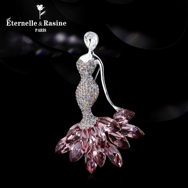 Mermaid Pink Blue Crystal Brooch sweater chain pendant dual purpose European and American high-grade semi precious stone Brooch Pin with accessories
