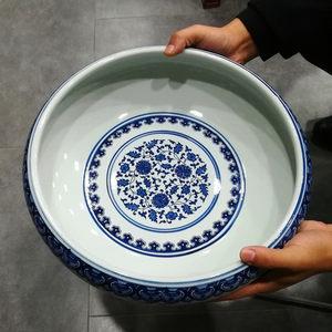 景德镇陶瓷烟灰缸时尚创意个性复古青花大号鱼缸水果菜盆盘收纳缸