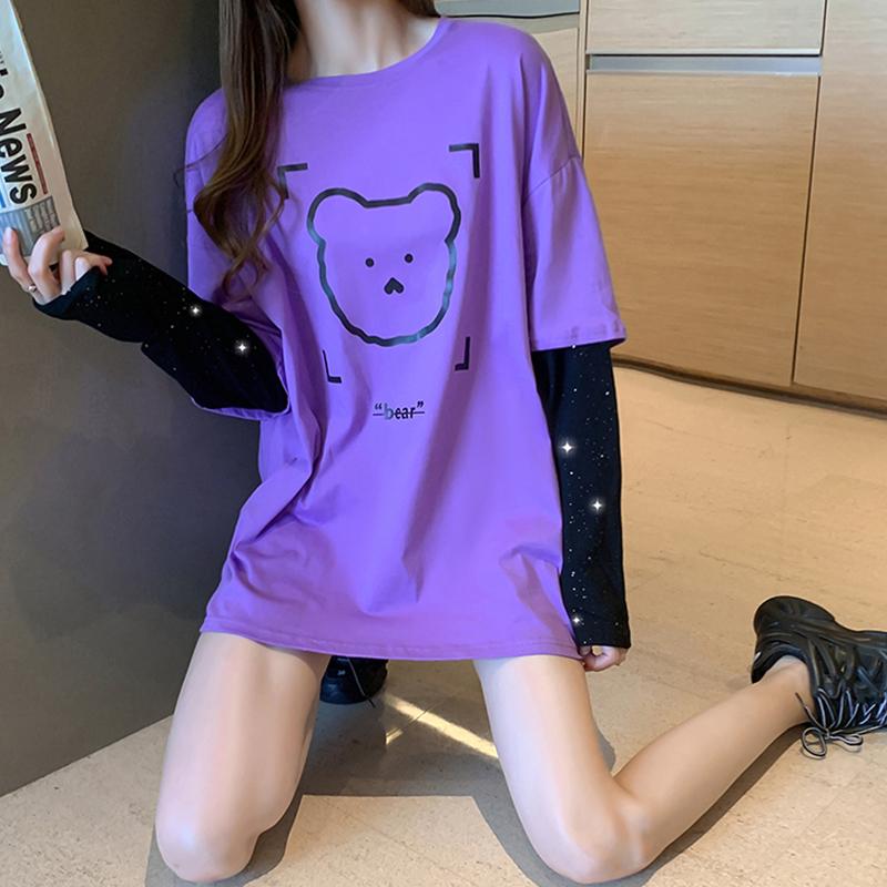 实拍 纯棉中长款长袖2021年秋季新款小熊t恤女假二件打底衫