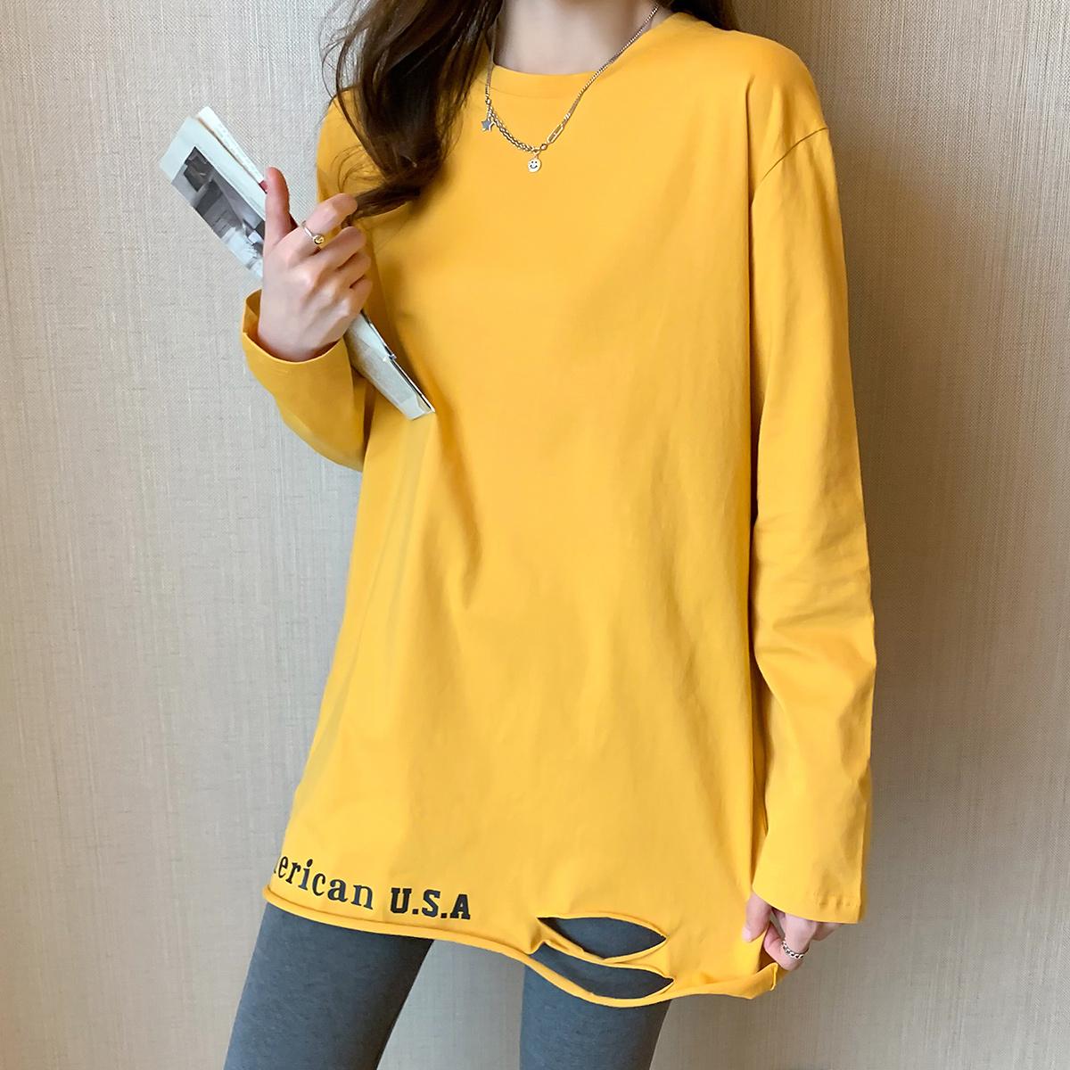 实拍纯色长袖t恤女秋季2021新款韩版小众宽松纯棉打底衫上衣3671