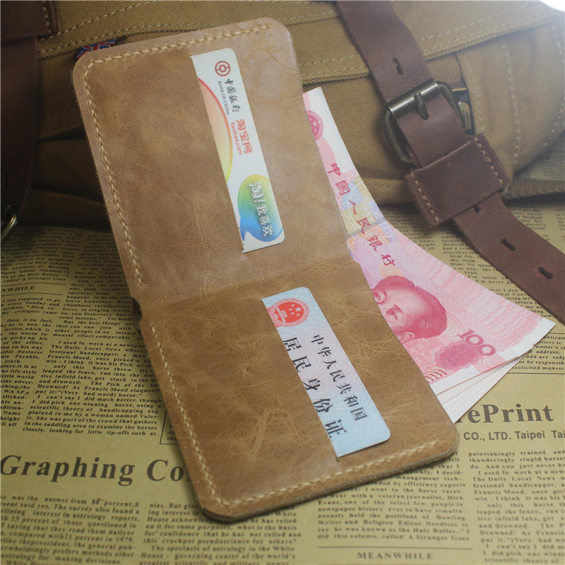 Q503 hot selling pure handmade leather simple wallet for mens Japanese and Korean horizontal retro Crazy Horse Wallet