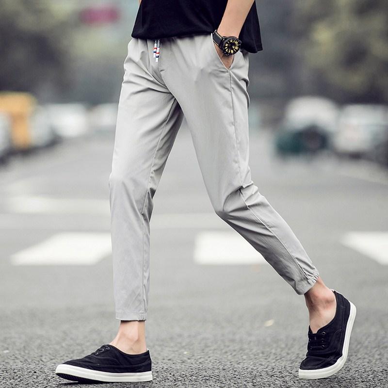 夏季男士睡裤九分小脚裤修身薄款运动休闲青年户外家居裤纯棉速干