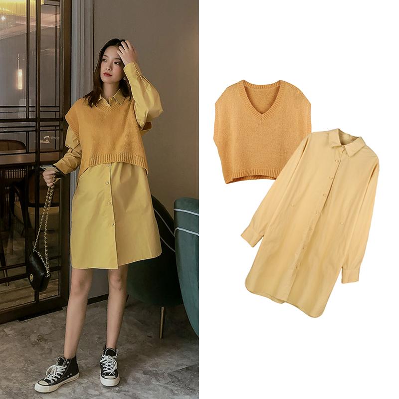 11月19日最新优惠孕妇时尚套装 孕妇洋气针织毛线背心马甲连衣裙两件套外出时尚潮