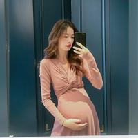 孕妇连衣裙仙女超仙时尚连衣裙秋装网红款长袖显瘦束腰中长款潮妈